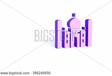 Purple Taj Mahal Mausoleum In Agra, Indiaicon Isolated On White Background. Minimalism Concept. 3d I