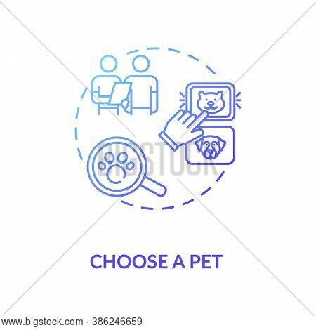 Choose A Pet Concept Icon. Grooming Salon Services App. Choosing Items Amount. Animals Helping Adopt