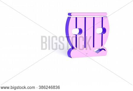 Purple Indian Musical Instrument Tabla Icon Isolated On White Background. Minimalism Concept. 3d Ill