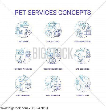 Pet Services Concept Icons Set. Grooming Center Services App Ideas. Grooming Services Types. Animal