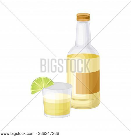 Pisco As Peruvian Brandy From Distillation Of Muscat Grapes Vector Illustration