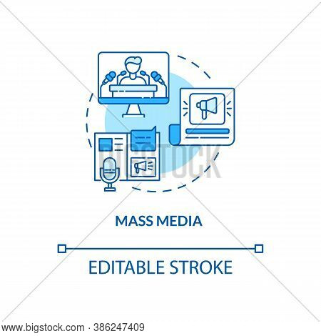 Mass Media Concept Icon. Communication Channels. Watching Television. News From Journals And Newspap