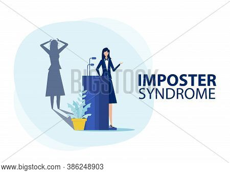 Imposter Syndrome.woman Standing For Her Present Profile With Fear Shadow Behind. Anxiety And Lack O