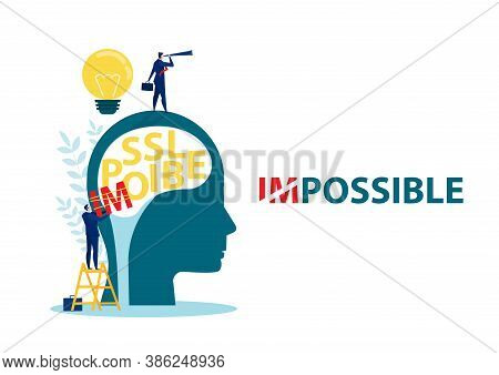 Businessman Change Impossible To Possible Text On Human Head,  Business, Success, Challenge, Motivat
