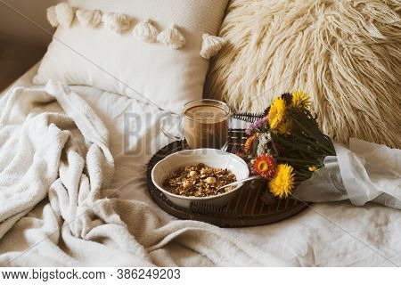 Breakfast In Bed In Living Room. Breakfast In Bed With Coffee Cup And Granola On Tray. Copy Space. C