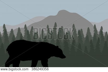 Vector Black Grizzly Bear Silhouette In Flat Landscape With Spruce Tree Forest And Mountains