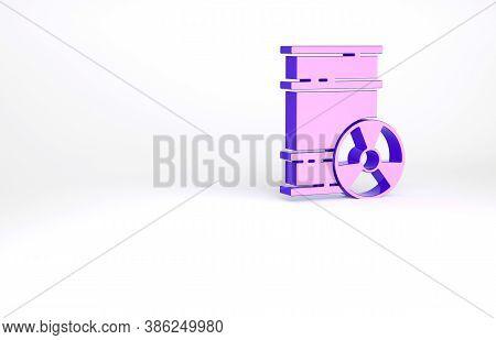 Purple Radioactive Waste In Barrel Icon Isolated On White Background. Toxic Refuse Keg. Radioactive