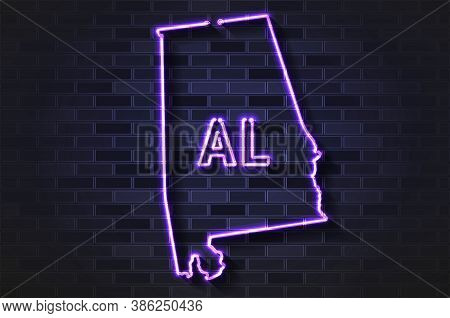 Alabama Map Glowing Neon Lamp Or Glass Tube. Realistic Vector Illustration. Black Brick Wall, Soft S