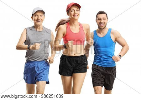 Three people in sportswear running towards camera isolated on white background