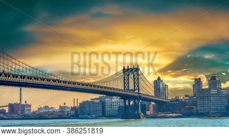 USA, New York ,sunset at Brooklyn bridge, historical structures of NY