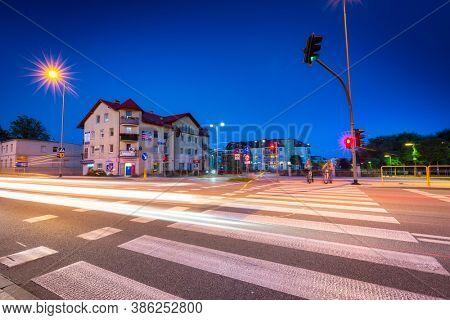 Pruszcz Gdanski, Poland - September 20, 2020: Beautiful scenery of the city center in Pruszcz Gdanski at night, Poland.