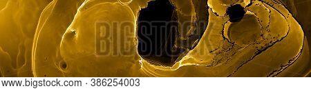 Closeup Design. Translucent Element. Gold Black Gold Black Closeup Design. Alcohol Ink Texture. Clos