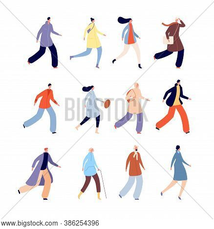 Autumn People. Person In Warm Clothes, Urban Male Characters Dressed Outerwear. Isolated Flat Fall S
