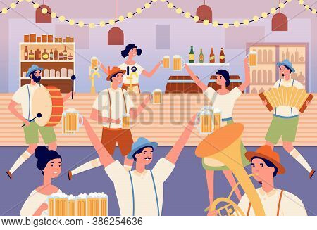 Oktoberfest Party. Cartoon Dancing Woman, Traditional Bavarian Fest In Beer Bar. Musicians And Dance