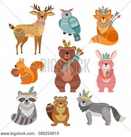 Cartoon Tribal Animals. Cute Woodland Illustration, Boho Fox Wolf Deer. Brave Forest Bear, Feather A