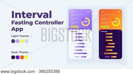 Interval Fasting Controller Smartphone Interface Vector Template Set. Mobile App Page Light And Dark