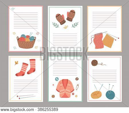 Knitting Elements Cards. Blank Paper Notes Template, Cozy Cardigan, Socks Mittens. Autumn Winter Sca