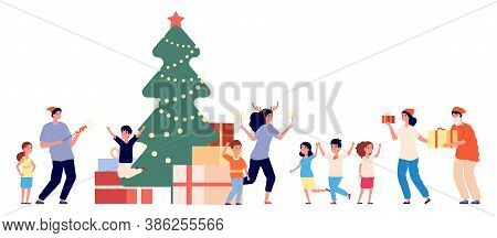 Party In Orphanage. Christmas Fest, Orphan And Volunteers. New Year Time, Children In Kindergarten G