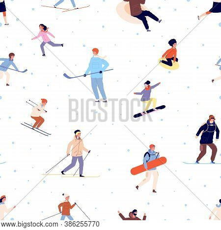 Sport Pattern. Winter Activity, Snowboard Ski Skating Adults And Children. Season Snow Active Time V