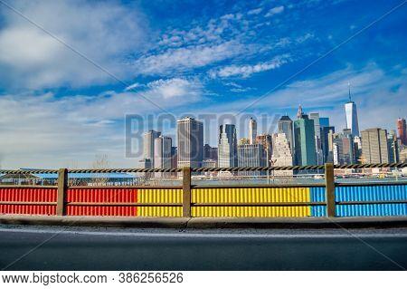 USA, New York 1.14.2015 , view of Manhattan skyline from Manhattan Bridge connecting Manhattan to Brooklyn since 1909