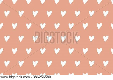 Seamless Vector Simple Heart Template. Valentine's Day Background. Flat Design Endless Texture From