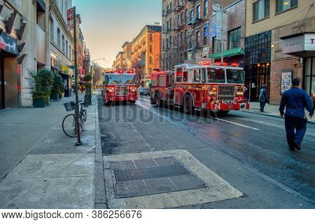 USA, New York 1.14.2015 , Lower Manhattan, NY 10012, United States, fire truck and firefighters in town action