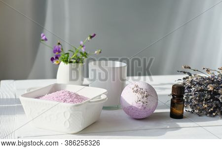 Lavender As Calming And Soothing Ingredient For Bath Soak, Bubble Bath Bomb And Scented Candle. Rela