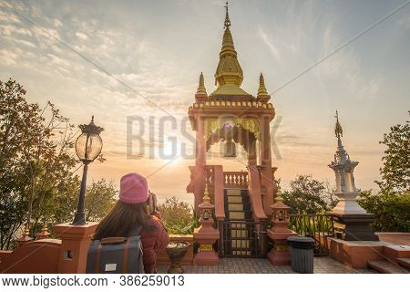 Tourist Woman Looking To The Beautiful Sunrise Over Wat Phra That Doi Phra Chan One Of The Most Beau
