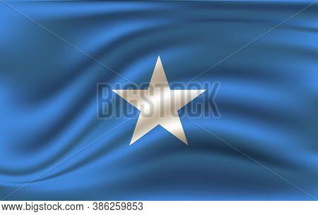 Realistic Waving Flag Of Federal Republic Of Somalia. Fabric Textured Flowing Flag Of Somalia.