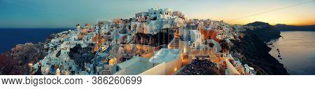 Santorini skyline sunrise with buildings in Greece.