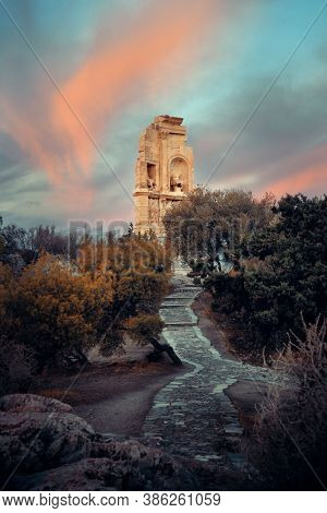 Philopappos Monument at sunrise with cloud, Athens, Greece