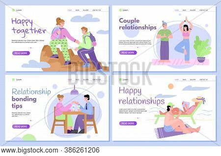 Website Pages Set Presenting Bonding Tips For Couple Relationships, Flat Cartoon Vector Illustration