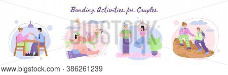 Bonding Activities For Couple Banner With Men And Women Spending Leisure Time Together And Communica