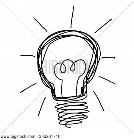 Black Color Doodle Line Handdrawing In Light Bulb Shape On White Background