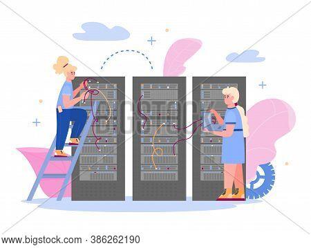 Data Center With Employees Maintaining Hosting Server, Flat Vector Illustration Isolated On White Ba