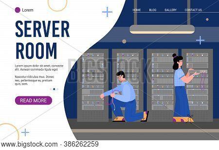 Data Server Room Landing Page For Internet Website On White Background. Worker Serving Computer Serv