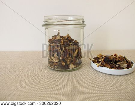 Dried Mushrooms In A Glass, Bay Bolete And Porcino