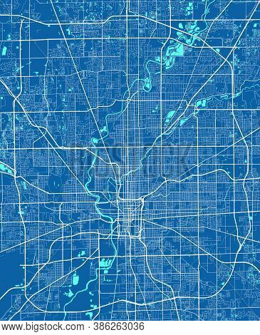 Detailed Map Of Indianapolis City Administrative Area. Royalty Free Vector Illustration. Cityscape P