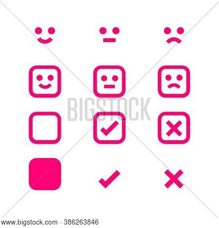 Pink Icon Emotions Face, Emotional Symbol And Approval Check Sign, Pink Emotions Faces And Check Mar