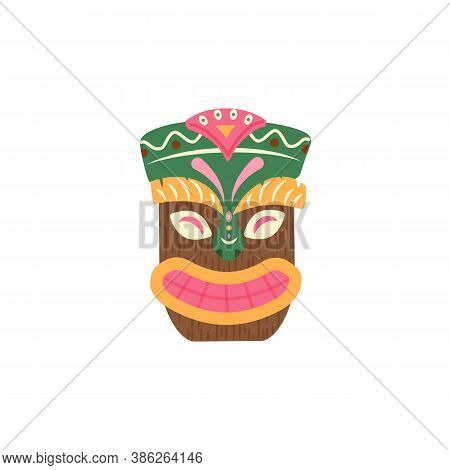 Wooden Ethnic Colorful Hawaiian Tiki Face Mask, Flat Vector Illustration Isolated On White Backgroun
