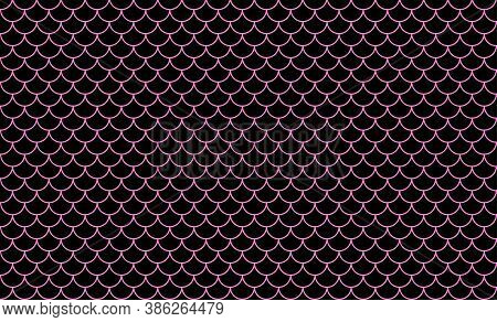 Mermaid Pattern, Fish Scale Pattern Art Line Pink On Black Background, Mermaid Tail Pattern Line Art