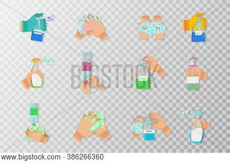 Soap,antiseptic Gel And Other Hygienic Products From Coronavirus. Hygiene Product. Sanitizer Bottle