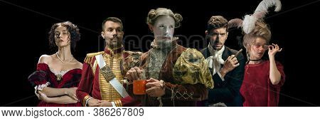 The Greatest. Collage On Young People In Medieval Attire On Dark Background. Retro Style, Comparison
