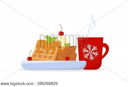 Christmas Breakfast With Belgian Waffles And Coffee. Waffles With Maple Syrup, Ice Cream And Cherry