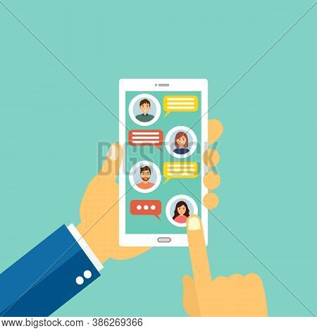 Man Chatting With His Friends Or Colleagues On Smartphone Concept Vector Illustration. Hand With Mob