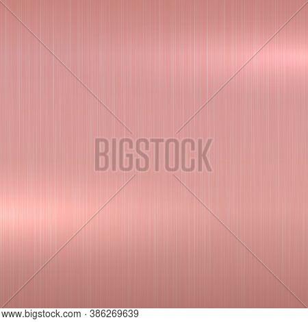 Bright Metallic Polished Background. Rose Gold Shiny Metal Brushed Texture
