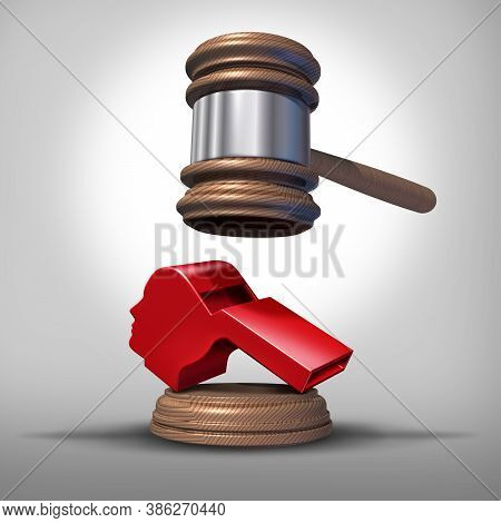 Whistleblower Laws Or Anonymous Whistle Blower Justice Concept As A Symbol Of Exposing Corruption Or