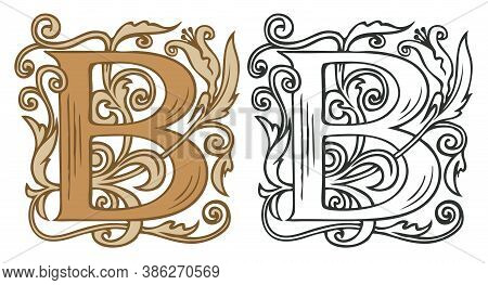 Initial Letter B With Vintage Baroque Decorations. Two Vector Uppercase Letters B In Beige And Black