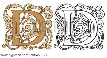 Initial Letter D With Vintage Baroque Decorations. Two Vector Uppercase Letters D In Beige And Black