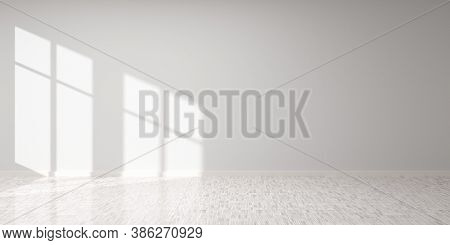 Empty Room With Blank Black Wall With Window Shadow And White Hardwood Floor - Presentation Or Galle
